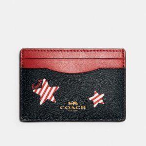 Coach Mens Card Case Wallet Americana Star Print